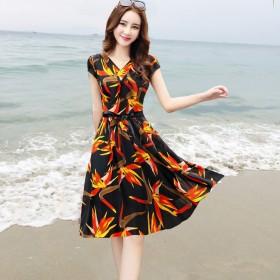 2018新款韩版夏季连衣裙中长款印花沙滩裙