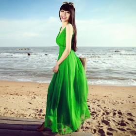 海边沙滩长裙女夏2018新款波西米亚修身吊带雪纺