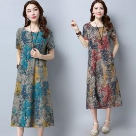 新款棉麻大码女装复古宽松印花短袖气质中长款连衣裙