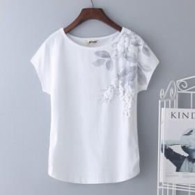 【95%棉】 短袖白色印花女t恤 2018夏新款