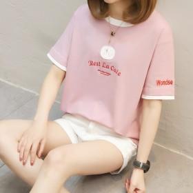 【纯棉】短袖t恤女2018新款宽松韩版学生夏装上衣