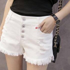 牛仔短裤夏季韩版白色破洞女纯棉显瘦弹力毛边松宽松