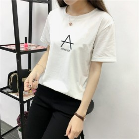 2018夏女装新款 字母印花学生打底百搭短袖T恤