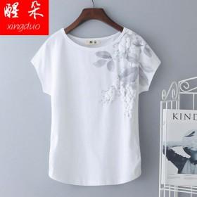 纯棉短袖白色印花大码女t恤 2018夏装新款上衣