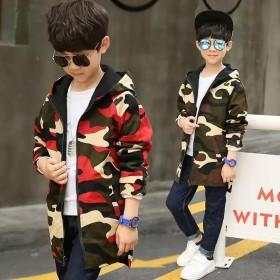 童装男童春秋款外套两面穿韩版中长款风衣儿童外套