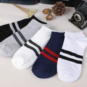 男袜两条杠运动休闲袜子时尚船袜低腰短袜韩版原宿男士