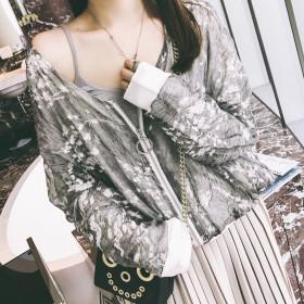 秋季双层碎花雪纺开衫外套女短款蝙蝠袖宽松显瘦短外套