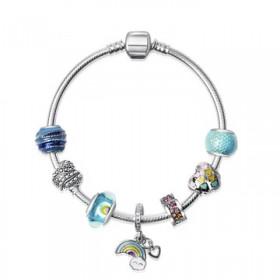 潘多拉风格蛇链可爱童话彩虹白云串珠手镯手链