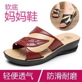 妈妈拖鞋夏季新款凉拖鞋女夏平底中老年女鞋老人室外穿