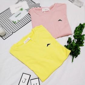 纯色刺绣小胡子T恤圆领宽松显瘦百搭短袖时尚打底衫