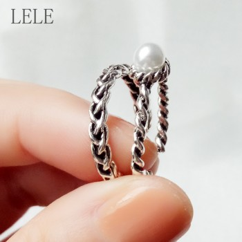 纯古银戒指2件套