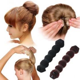 带扣丸子头盘发器工具 韩版甜美发饰可爱直假发花苞头