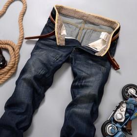 牛仔裤男秋冬厚款男士裤子休闲男装长裤中腰修身直筒裤
