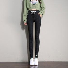 新款松紧腰弹力显瘦小脚裤韩版黑色裤子潮牛仔裤