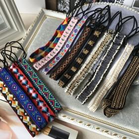 韩国复古进口头饰图腾刺绣民族风发箍铆钉链条欧美弹力