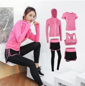 瑜伽运动套装女健身房跑步速干衣专业健身服女五件套