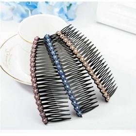 韩国发梳水钻插梳刘海梳盘发顶夹头饰品发卡发夹