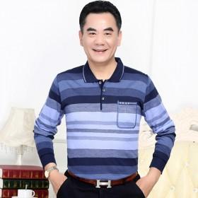 京东男士翻领T恤中老年春秋装条纹针织男扣子衫