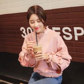 韩国卫衣女宽松2018新款长袖学生短款灯笼袖套头