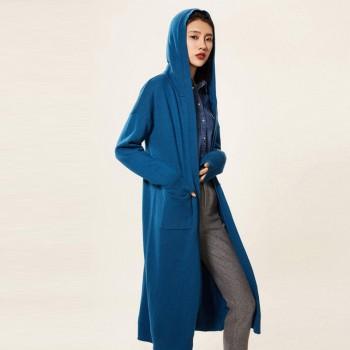 秋冬季新款连帽针织开衫毛衣外套女中长款宽松外套