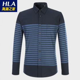 海澜之家品牌男士长袖衬衫男条纹休闲衬衣男装/100