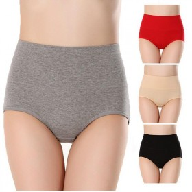 【5条装】女士内裤高腰纯棉大码收腹提臀美体纯色