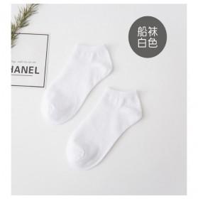 百搭简约纯色黑色白色男船袜运动短筒全纯棉20372