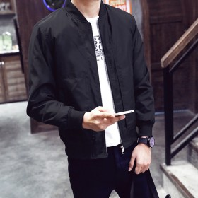 春秋夹克男薄款外套韩版修身青年休闲外衣棒球领秋季茄