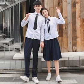 韩版男女长短袖衬衫白色上衣商务休闲