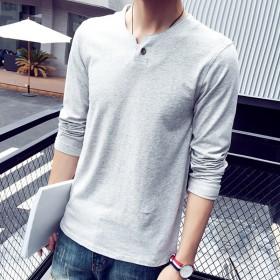 秋季长袖纯棉T恤男士韩版修身V领纯色潮流体恤秋装青