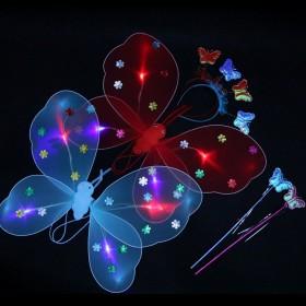 地摊夜市热卖发光蝴蝶翅膀三件套小天使儿童玩具批发