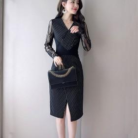 社会女连衣裙秋款女2018新款中长款裙子成熟气质