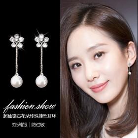 韩国饰物明星同款气质纯银锆石梅花耳钉珍珠长款耳环