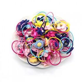 新款儿童皮筋可爱蝴蝶结花形多款式高弹发圈盒