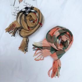 秋冬羊绒格子围巾儿童围巾韩版加厚保暖男童女童围脖亲
