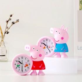 卡通小猪佩奇塑料钟表个性节日学生床头闹钟开学礼物