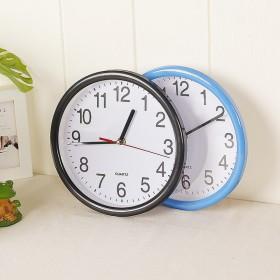 创意圆形扫描小挂钟8寸数字卧室静音时钟墙头精准挂钟