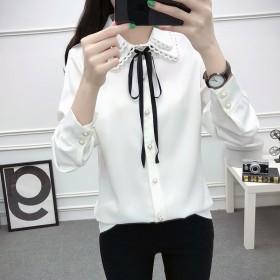 白色衬衫女长袖2018秋装新款韩版宽松蝴蝶结系带