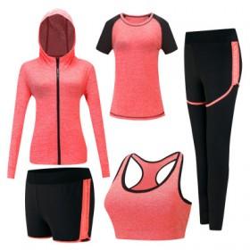 秋瑜伽服女套装运动休闲连帽衫速干透气跑步健身五件套