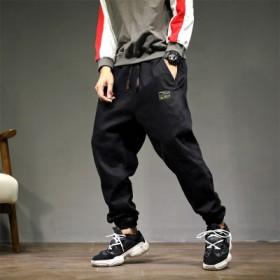 加肥加大长裤子日系宽松牛仔裤时尚棉弹力哈伦裤
