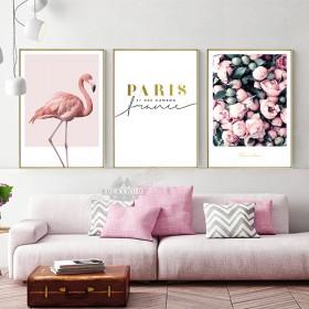 北欧风格客厅ins装饰画 花朵火烈鸟床头挂画