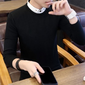 衬衫领毛衣男 假两件针织衫(热卖12万件)巨亏限量