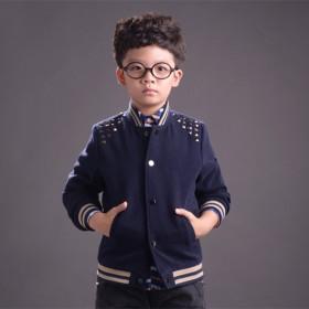 男童春秋外套中大童柳钉夹克潮儿童棒球服外套呢子外套
