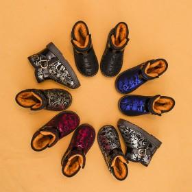 儿童雪地靴男童冬季防水加绒棉鞋防滑保暖鞋女短筒靴子