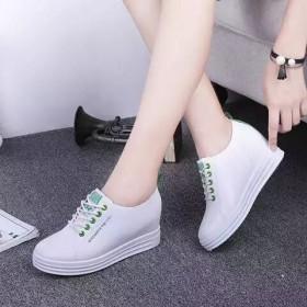 休闲鞋女内增高女鞋小白鞋透气系带运动鞋坡跟厚底高跟