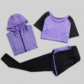 【三件套】速干长袖瑜伽服套装短袖长裤连帽外套健身服
