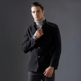抖音网红男短外套男休闲羊毛呢子上衣男妮子上衣爸爸装