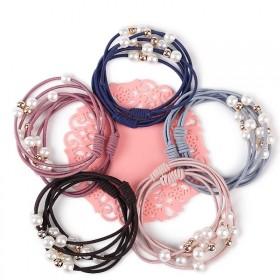 珍珠发圈皮筋扎头发绳9珠多层混色10根打结头绳马尾