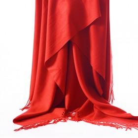 围巾女秋冬季保暖披肩韩版女纯色红色百中国红围巾大