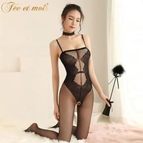 性感情趣内衣制服骚三点式连体丝袜开档紧身女透视装激